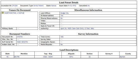 Land Patent Number 291284