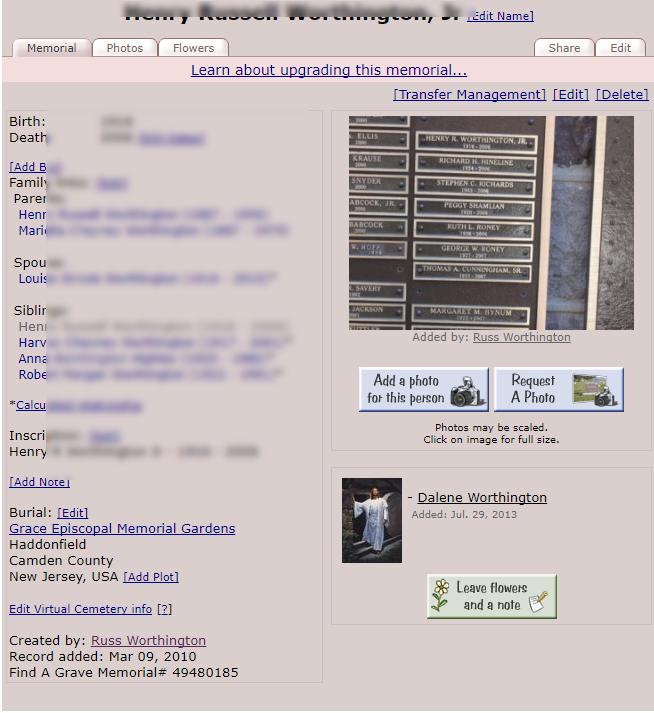 Find-A-Grave | A Worthington Weblog